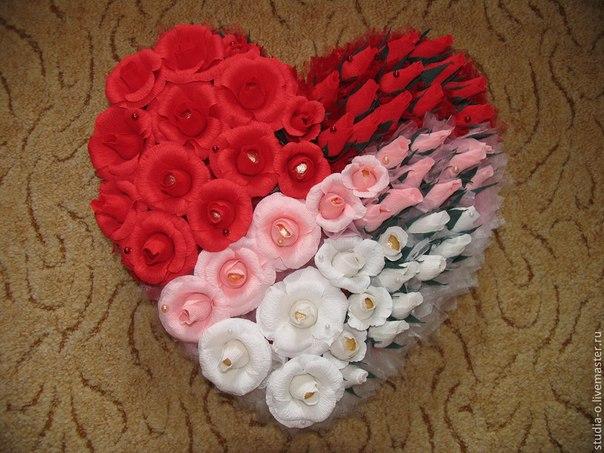 Сердце из роз своими руками из гофрированной бумаги 80