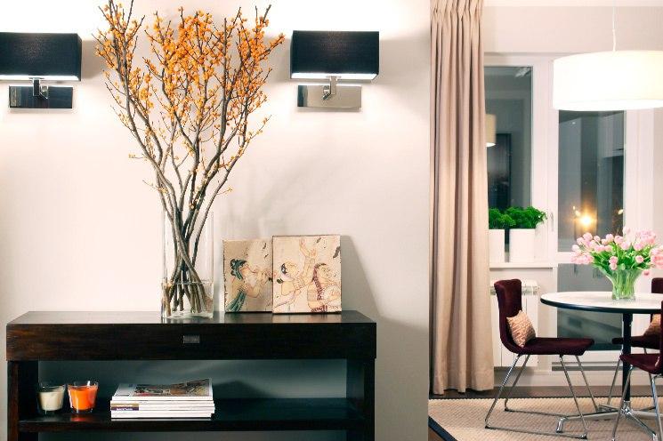 Дизайн квартиры 38 м в Москве с широким проемом из кухни в комнату (нечто среднее между полностью открытой студией и однокомнатной квартирой с отдельной кухней).