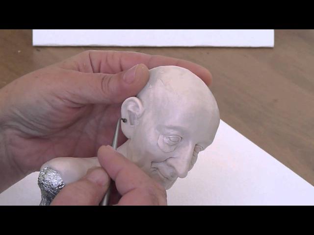 How to sculpt a doll head Polymer Clay. Sculpting the ears. Как слепить голову куклы. Лепим уши.