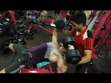 43kg x 2 dumbells bench press, incline, 3sets x 8reps