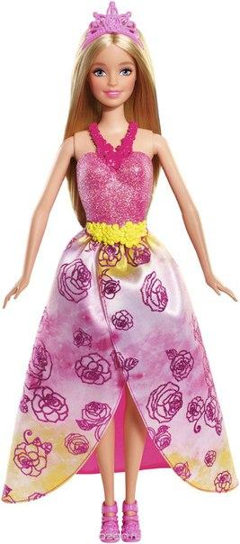 Кукла принцесса цвет платья розовый желтый, Barbie