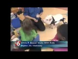 Chris P Bacon news anchor reporter looses control laughs at name of pig
