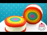 Rainbow ICE CREAM Sandwich - How to Make Rainbow Cookies with Cupcake Addiction