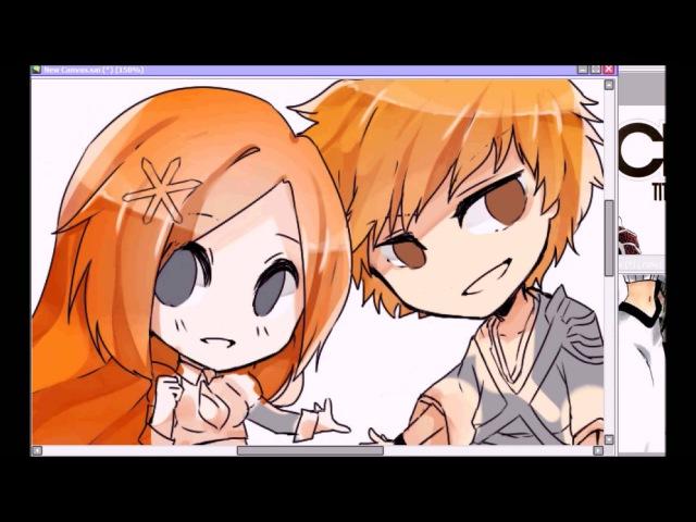 【Chibi Orihime and Ichigo 】Commission speedpaint【Natx】