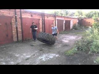 Феллер А Тренировка кантовка 150 кг покрышки 26 июля 2015