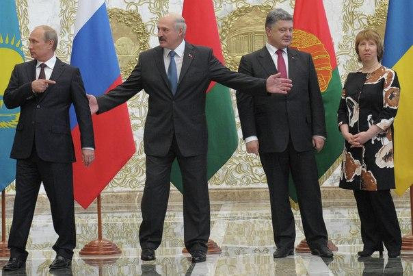 Владимир Путин, Александр Лукашенко, Петр Порошенко и верховный представитель по иностранным делам и политике безопасности ЕС Кэтрин Эштон перед началом встречи глав государств Таможенного союза с президентом Украины и представителям