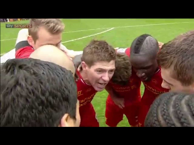 We don't let this slip, we go again! Steven Gerrard leads Liverpool's Post-Match Huddle