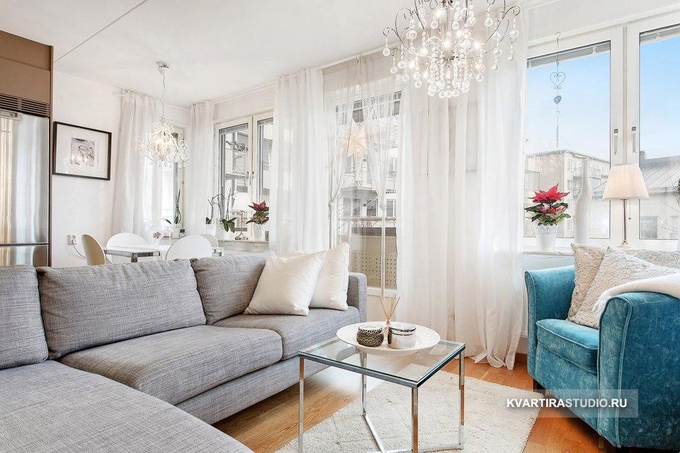Дизайн квартиры студийной планировки 38 м в Осло / Норвегия - http://kvartirastudio.