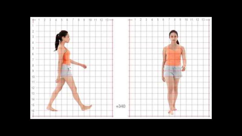 Animation Reference - Female Standard Walk - Grid Overlay