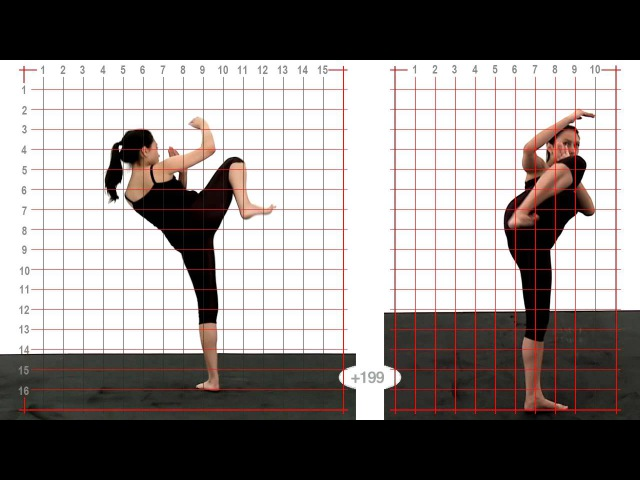 Animation Reference - Young Adult Female Side Kick High - Grid Overlay