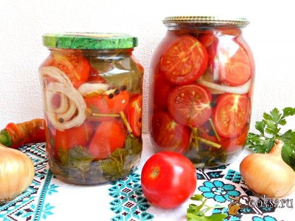 Помидоры маринованные с луком Очень вкусные помидорчики с луком, которые можно заготовить на зиму. Из данного количества продуктов получится 2 литровые банки помидоров.