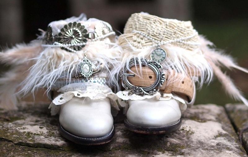 украшения для обуви невесты в стиле бохо