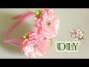 🌺 Ободки Twins с цветами из лент | KANZASHI | DIY