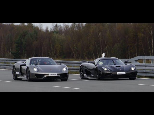 [4k] Koenigsegg Agera R vs Porsche 918 Spyder Weissach Package 50-320 km/h