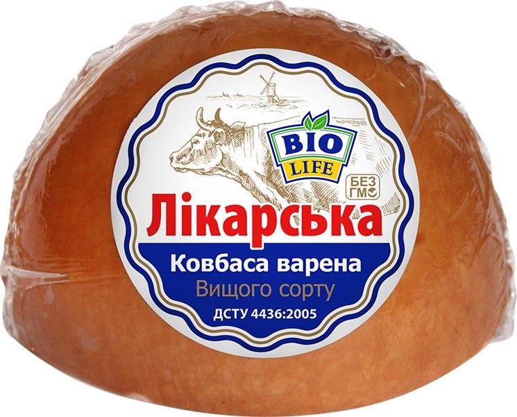 """Ковбаса варена """"Лікарська"""". Біо Лайф. 1кг"""