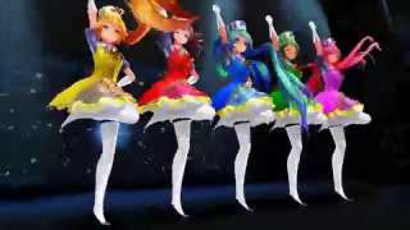 [mmd] Magical girls - Miku, Gumi, Luka, Neru, and Teto - Sentai Slender Legs