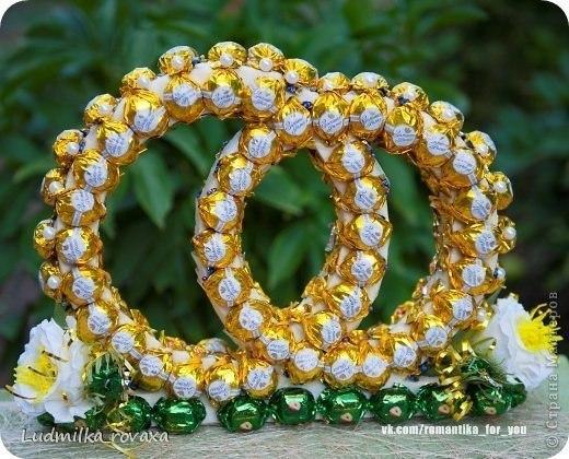 Свадебные обручальные кольца из конфет своими руками