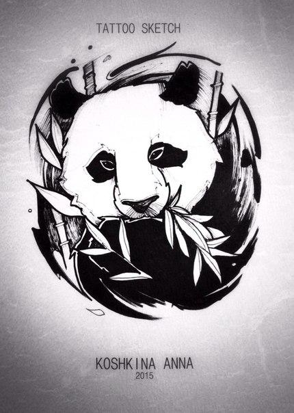 эскиз тату панда:
