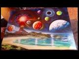 Planets and volcano spray art