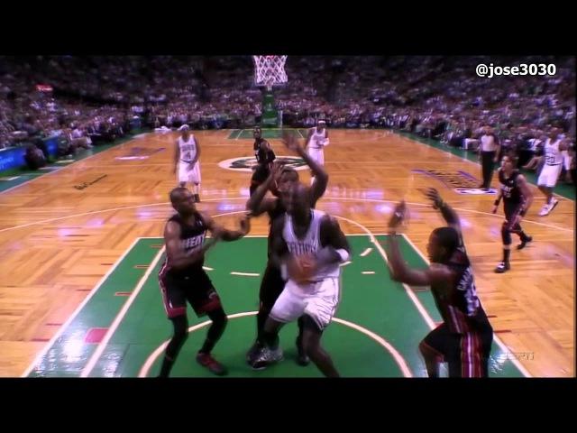 2010/11 Kevin Garnett Gets Fouled, Goes Down Hard, Does Some Pushups - Heat @ Celtics 2012 NBA Playoffs
