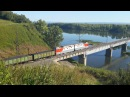 Электровоз 2ЭС6 с грузовым составом на мосту через р Томь перегон Карлык Томусинская