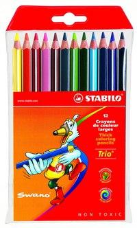 Набор цветных карандашей trio, 12 цветов, утолщенные, STABILO