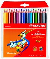 Набор цветных карандашей trio, 18 цветов, утолщенные, STABILO