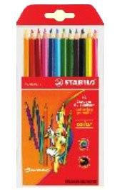 Набор цветных карандашей: 10 базовых + 2 флуоресцентных цвета, STABILO
