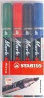 Набор из 4 перманентных маркеров с клиновидным наконечником mark-4-all, STABILO