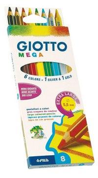 Набор цветных карандашей утолщенных (6 цветов +1 золото +1 серебро), FILA-GIOTTO
