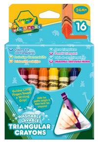 16 разноцветных восковых смываемых, треугольных мелков, Crayola