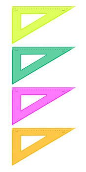 Треугольник, 23 см, 30 градусов, флуоресцентный, прозрачный, Стамм