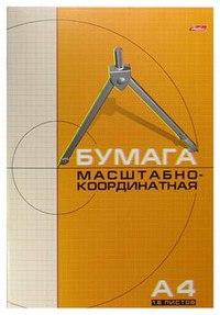 Бумага масштабно-координатная, 16 листов, а4, Hatber