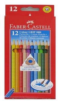 """Карандаши цветные акварельные """"grip 2001"""", 12 цветов, 12 штук, заточенные, Faber-Castell"""