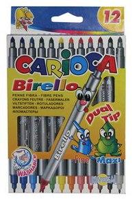 Фломастеры-линеры. carioca birello, двусторонние, 12 цветов, Universal