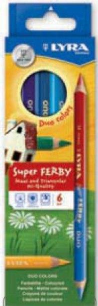 """Двусторонние цветные карандаши """" superferby"""", 6 штук, 12 цветов, LYRA"""
