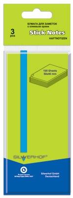 Бумага 50х40 мм 100 листов, зелёная, для заметок, самоклеящаяся, Silwerhof