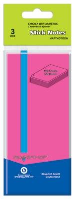 Бумага 50х40 мм 100 листов, розовая, для заметок, самоклеящаяся, Silwerhof