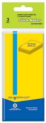 Бумага 50х40 мм 100 листов, желтая, для заметок, самоклеящаяся, Silwerhof