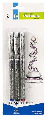 """Набор 3 ручки гелевые """"platinum"""" 0.5 мм, Silwerhof"""