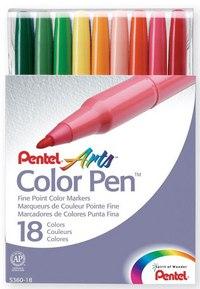 Фломастеры color pen, 18 цветов, Pentel