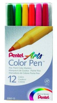 Фломастеры color pen, 12 цветов, Pentel