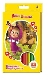 Цветные карандаши «», толстые, трехгранные, 12 цветов, Маша и Медведь