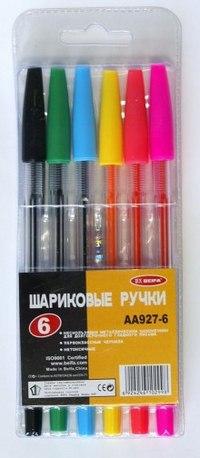 Набор цветных шариковых ручек, 6 цветов, с металлическим наконечником, Beifa