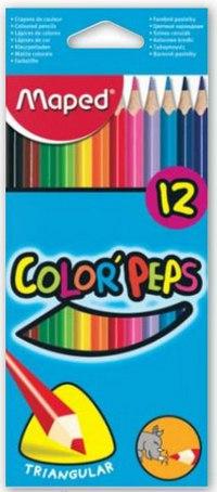 """Цветные карандаши """"color peps"""", трехгранные, 12 цветов, Maped"""