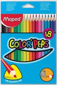 Цветные карандаши color peps, трехгранные, 18 цветов, Maped