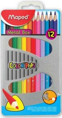 Цветные карандаши color peps, трехгранные, 12 цветов, в металлической коробке, Maped