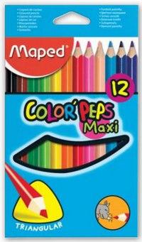 Цветные карандаши color peps maxi, трехгранные, 12 цветов, Maped