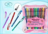 Набор цветных гелевых ручек, 12 цветов, для тату, Miraculous