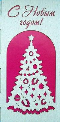 Открытка из шпона «с новым годом!» (ёлка), Караван-СТ
